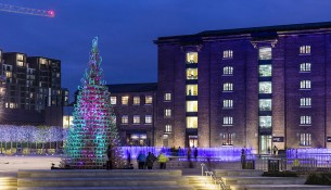 A tree made from sledges and Christmas lights in Granary Square at King's Cross