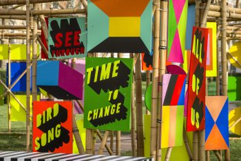 See Through Bamboo Installation Morag Myerscough 07